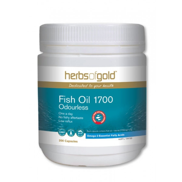 Herbs of Gold Fish Oil 1700 Odourless 400 Caps